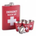 Zestaw Emergency:  piersiówka, 4 kieliszki, lejek  42852